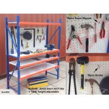 Garage Workshop WorkBench Shelves Metal shelf With Holes Back Panel