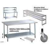Benches 0.8m Depth Flat Top w/t Shelf Stainless Steel WorkBench