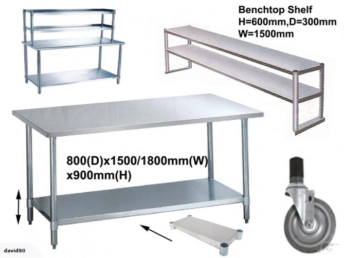 benches 08m depth flat top wt shelf stainless steel workbench - Stainless Steel Work Bench