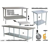 Benches 0.6m Depth Flat Top Stainless Steel WorkBench Work Bench