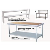 Benches 0.8x0.8x1.8m Embeded Wooden Top Stainless Steel WorkBench